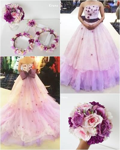 結婚式クラシックピンクコーディネート、ピンク花冠