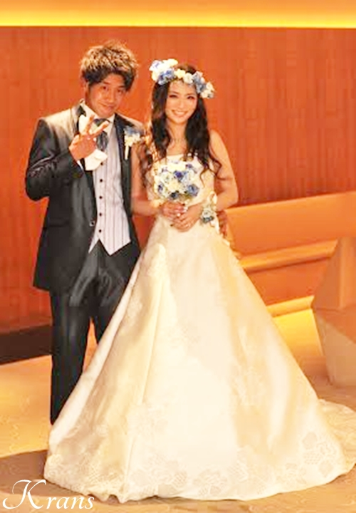 結婚式花冠、ウェディング花冠、青い花冠、ブルー花冠
