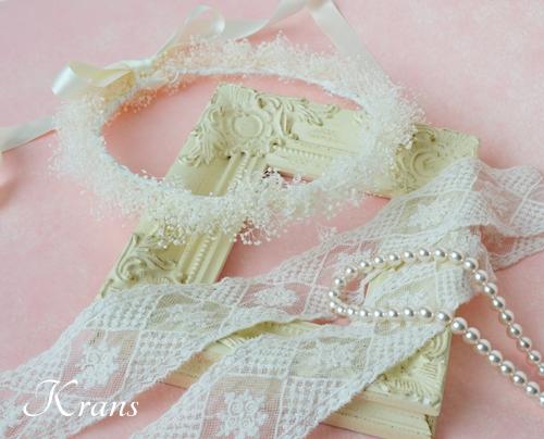 白いかすみ草の結婚式花冠3