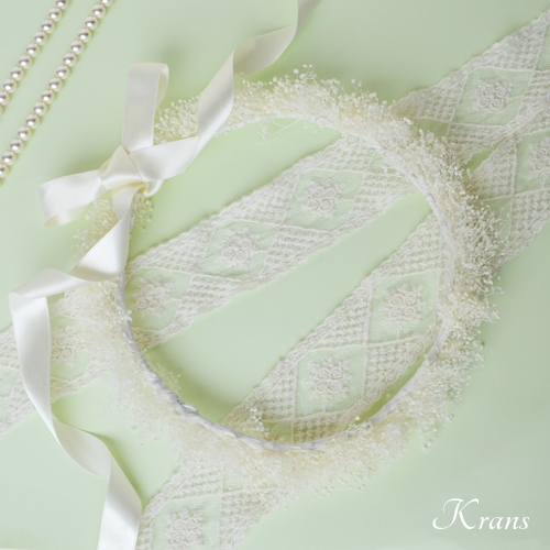 白いかすみ草の結婚式花冠10