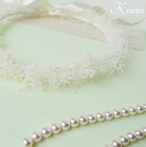 白いかすみ草の結婚式花冠11