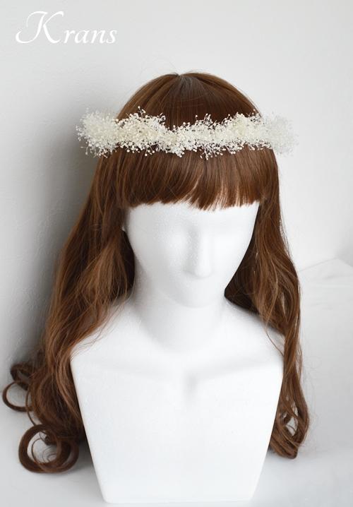 白いかすみ草の結婚式花冠4