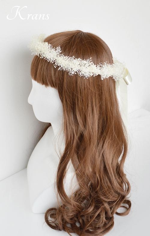 白いかすみ草の結婚式花冠7