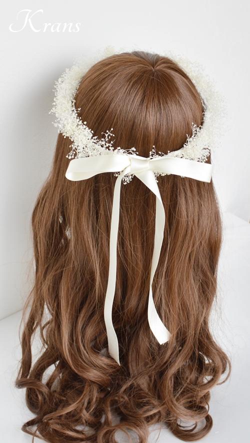 白いかすみ草の結婚式花冠8