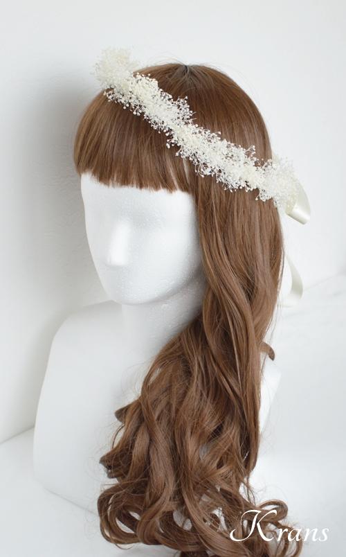 白いかすみ草の結婚式花冠6