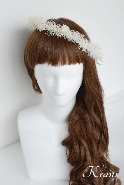白いかすみ草の結婚式花冠5