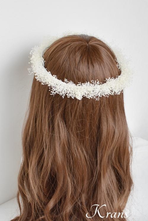 白いかすみ草の結婚式花冠9