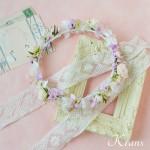 スイートピンクの結婚式花冠2