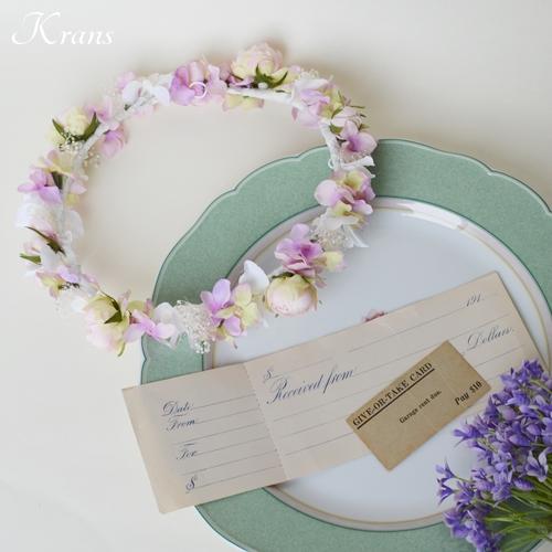 ピンクの結婚式花冠1