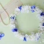 白いアジサイの結婚式花冠3
