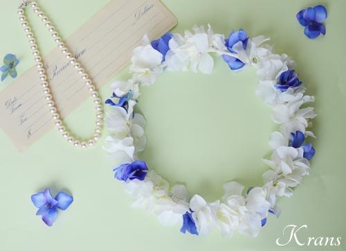 青と白の結婚式花冠7