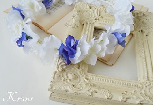 青と白の結婚式花冠1