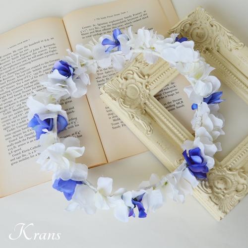 青いサッシュベルトにもおすすめの白いあじさい花冠