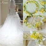 ビタミンカラー花冠、黄色い花冠、結婚式の花冠に似合うドレスコーディネート、ウェディング花かんむり