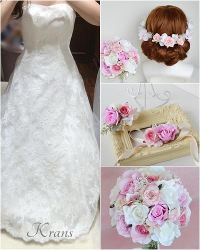 ピンク花冠、ピンクヘアパーツ、結婚式の花冠に似合うドレスコーディネート、ウェディング花かんむり