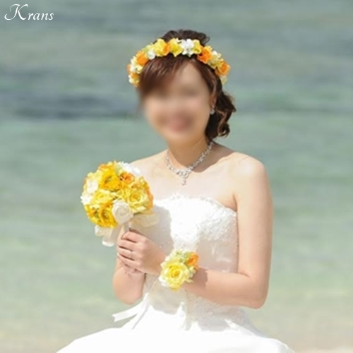 【幸せのバトン:Photo gallery】 M様(イエロー・オレンジ・グリーンのウェディング花冠)