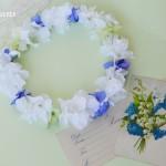 白と青のあじさい結婚式花冠2