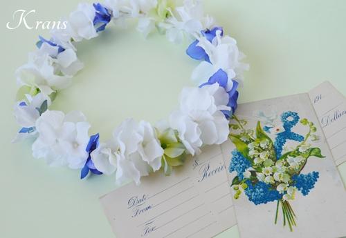 白と青のあじさい結婚式花冠