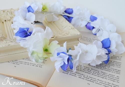 白と青のあじさい結婚式花冠3