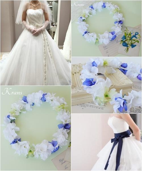 青い花冠、ブルー花冠、結婚式の花冠に似合うドレスコーディネート、ウェディング花かんむり