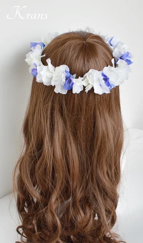 青と白の結婚式花冠5