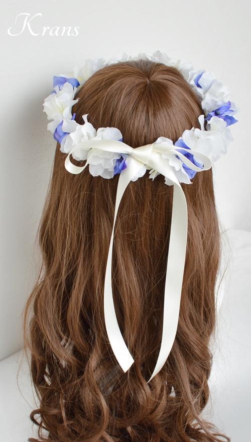 青と白の結婚式花冠6