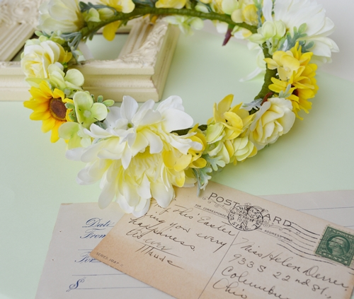 黄色いひまわりの結婚式花冠5