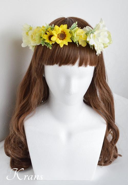 黄色いひまわりの結婚式花冠4