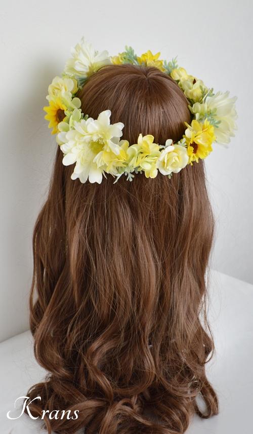 黄色いひまわりの結婚式花冠3