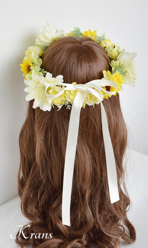 黄色いひまわりの結婚式花冠2