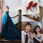 赤いバラヘッドドレス髪かざり結婚式ブルードレス
