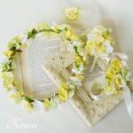 【オーダー】happyイエローの花冠、ブートニア、リストレット、お子様用のヘッドドレス