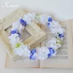 【オーダー】ホワイト&ブルーあじさいのウェディング花冠