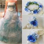 青いバラ花冠、結婚式の花冠に似合うドレスコーディネート、ウェディング、花かんむり