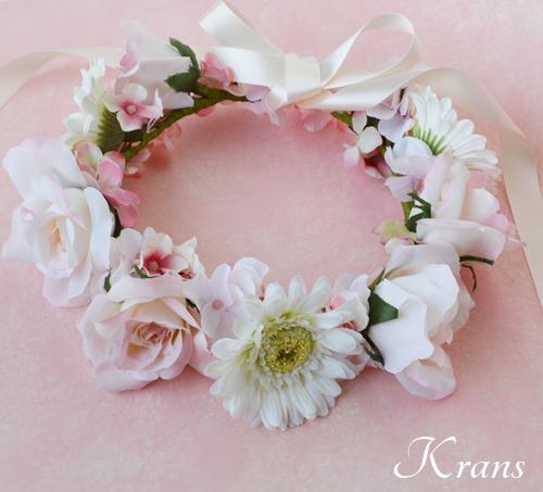 パステルピンクの結婚式花冠9