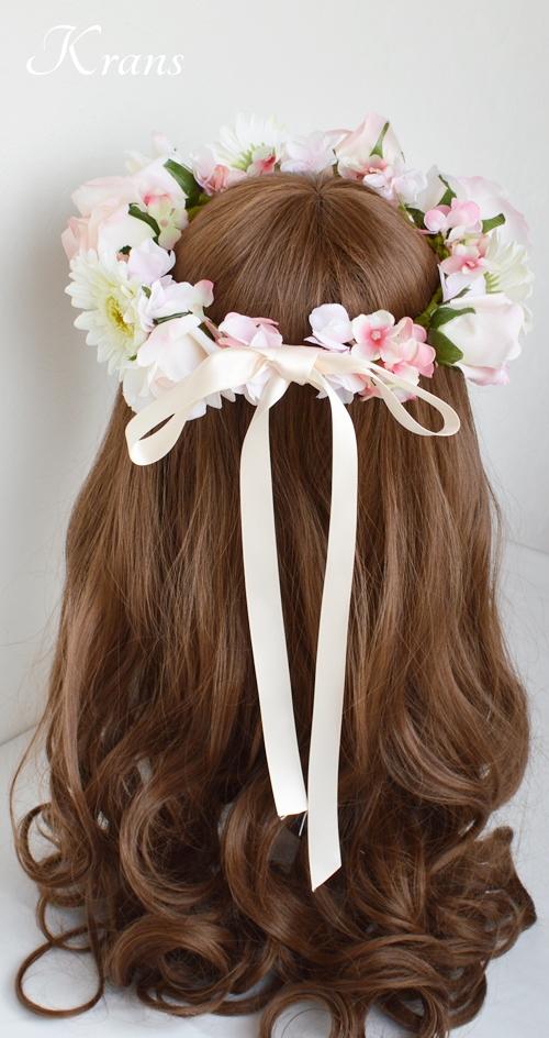 パステルピンクの結婚式花冠7