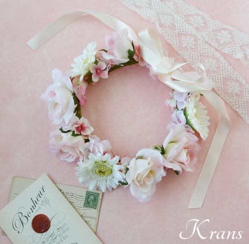 パステルピンクの結婚式花冠3