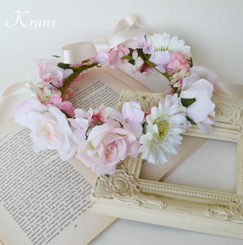パステルピンクの結婚式花冠1