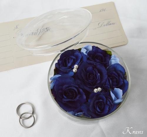 リングピロー青いバラガラスケース