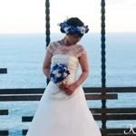 青いバラ花冠海外ウェディング