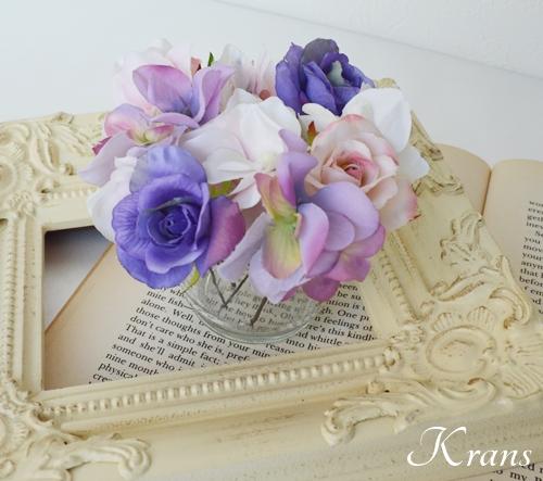 花冠ピンクローズフラワーピック結婚式3