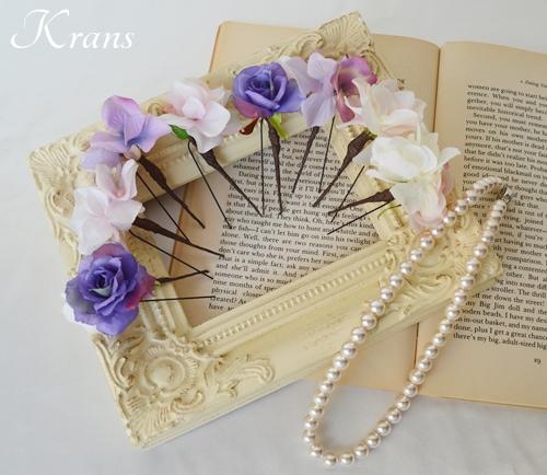 花冠ピンクローズフラワーピック結婚式2