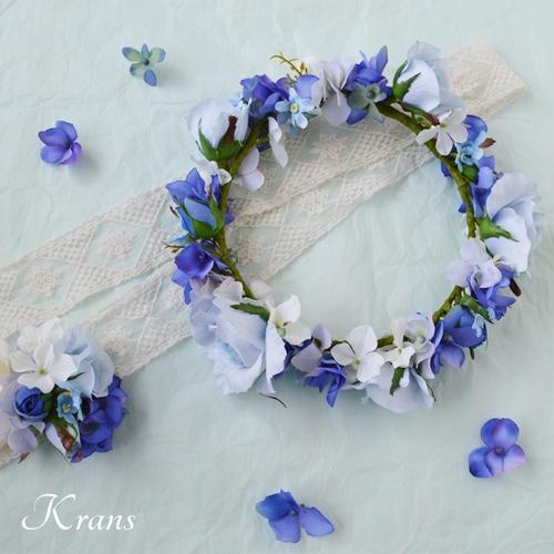 ウェディングブルーの花冠