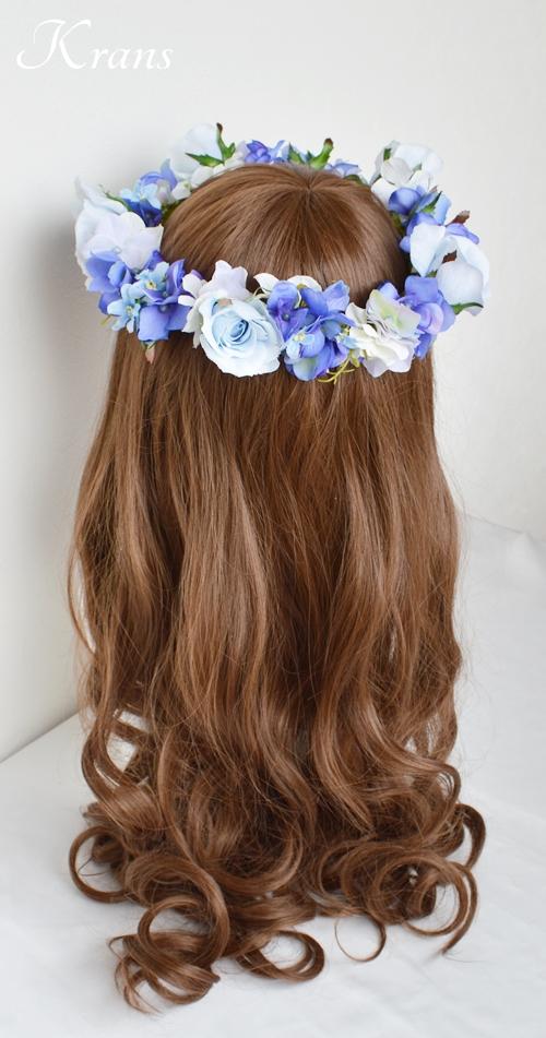 花冠ブルー結婚式ヘアスタイル4