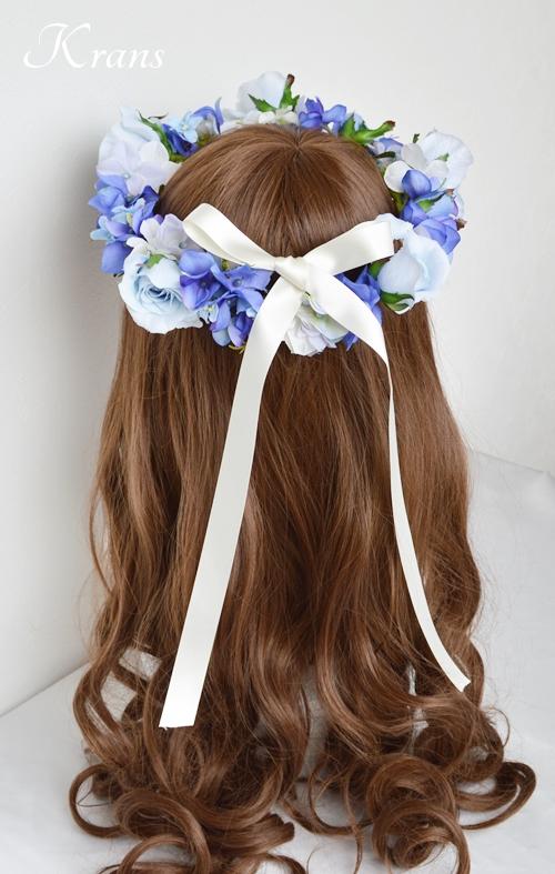 花冠ブルー結婚式ヘアスタイル5