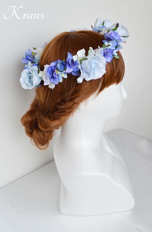 花冠ブルー結婚式ヘアスタイル6