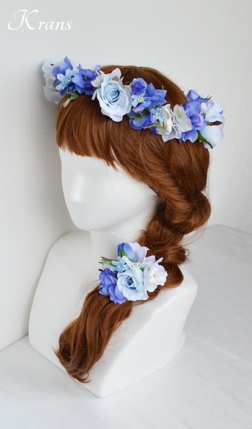 花冠ブルー結婚式ヘアスタイル7