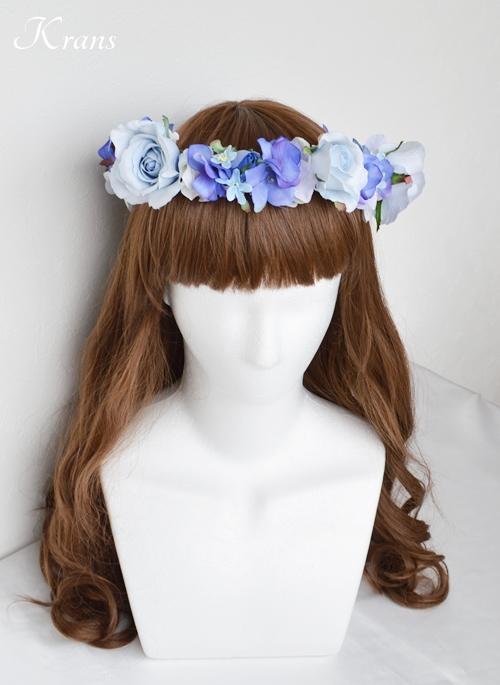 花冠ブルー結婚式ヘアスタイル