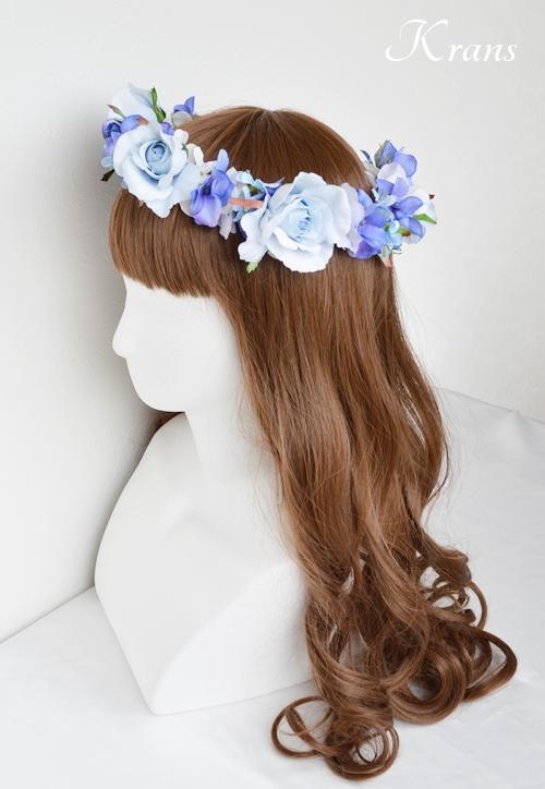 花冠ブルー結婚式ヘアスタイル2