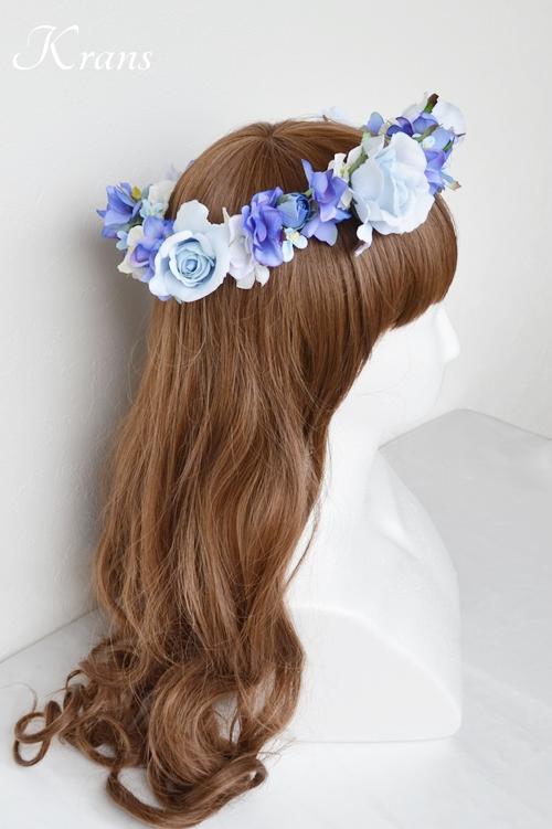 花冠ブルー結婚式ヘアスタイル3